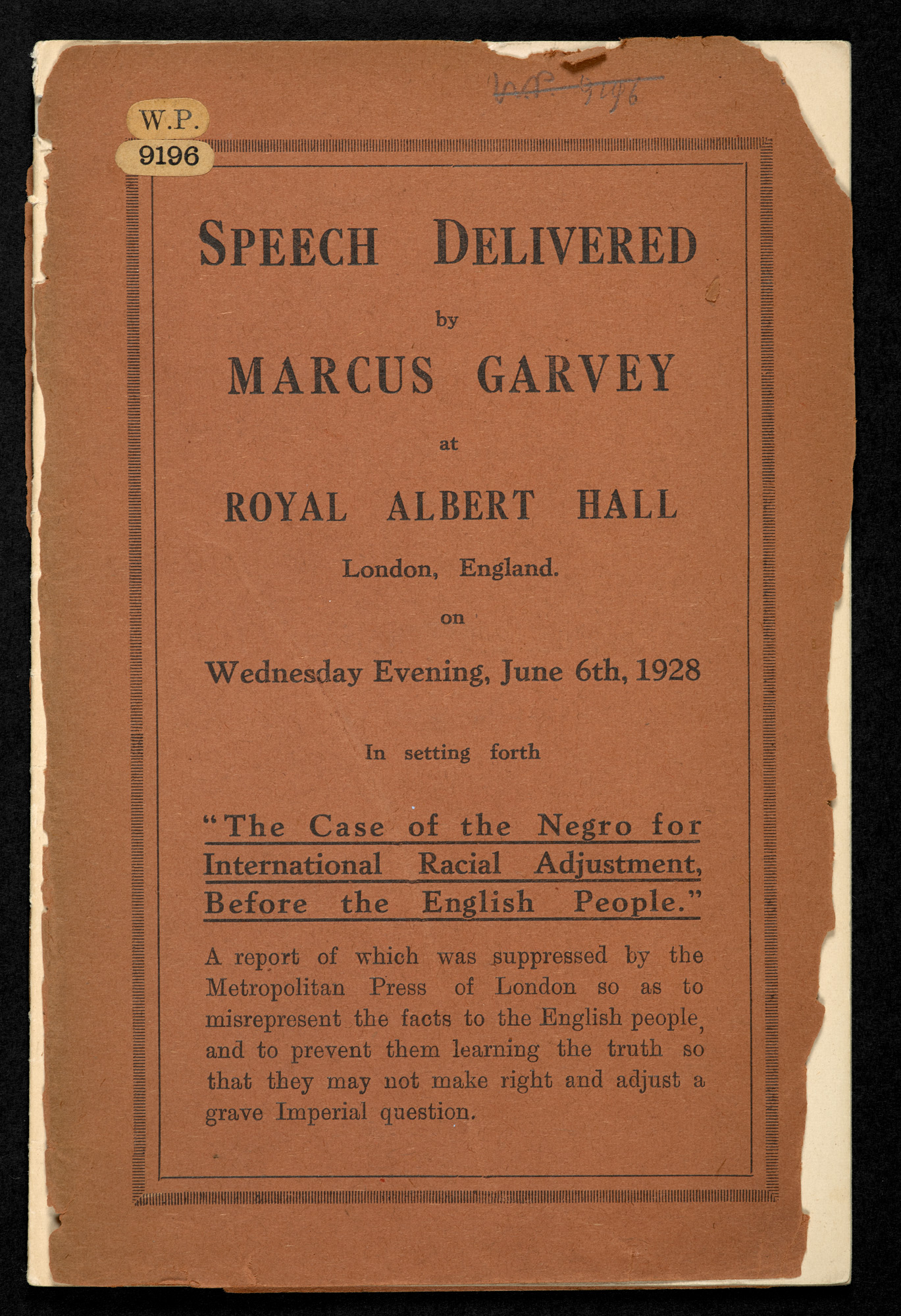 Speech delivered by Marcus Garvey at the Royal Albert Hall