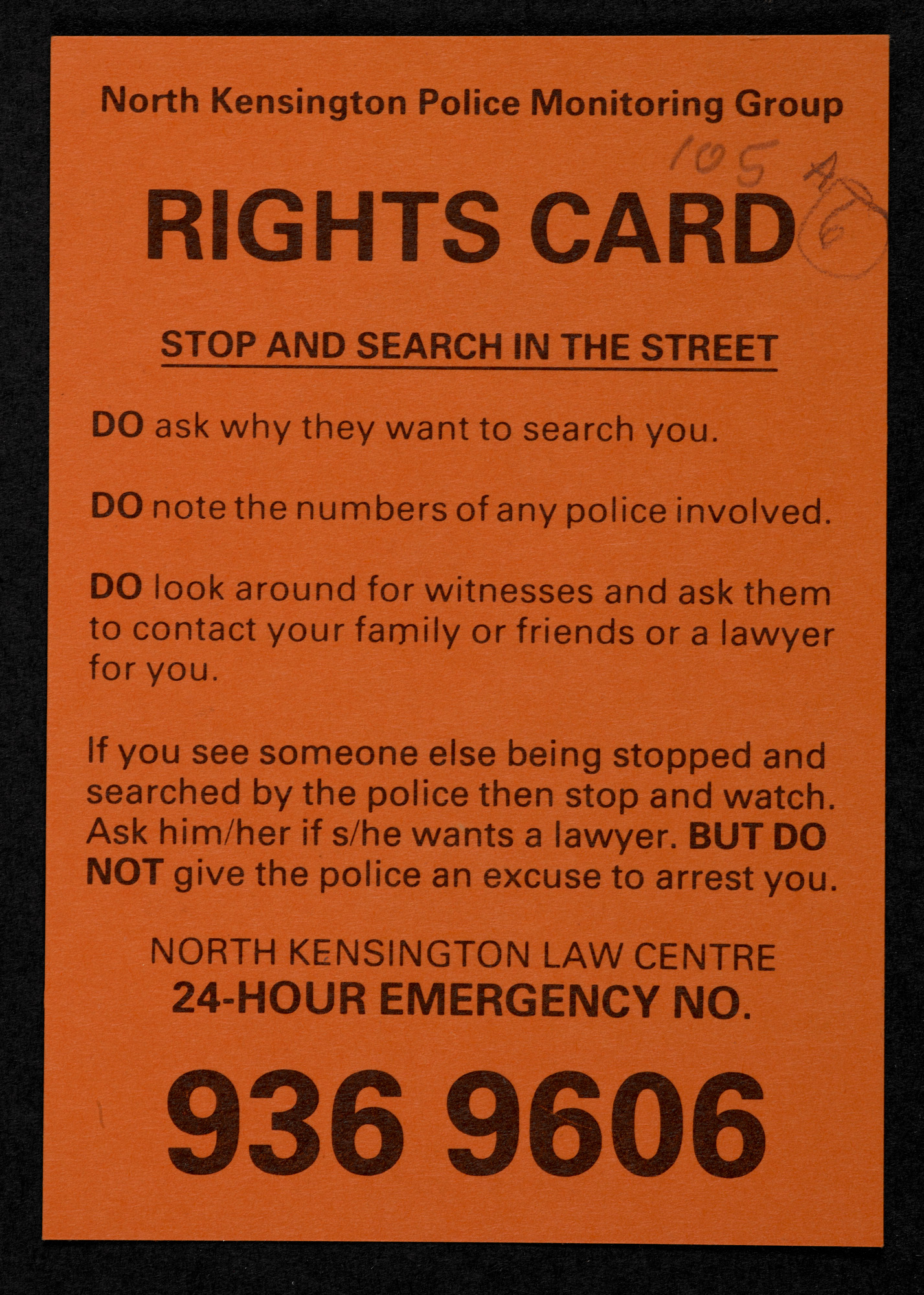 North Kensington Police Monitoring Group, citizen's rights card