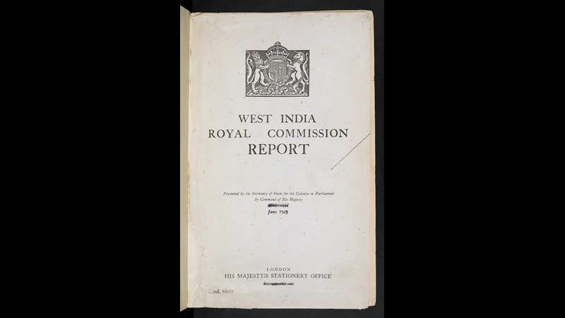 Title page from the Moyne Report, published under the title of West India Royal commission report