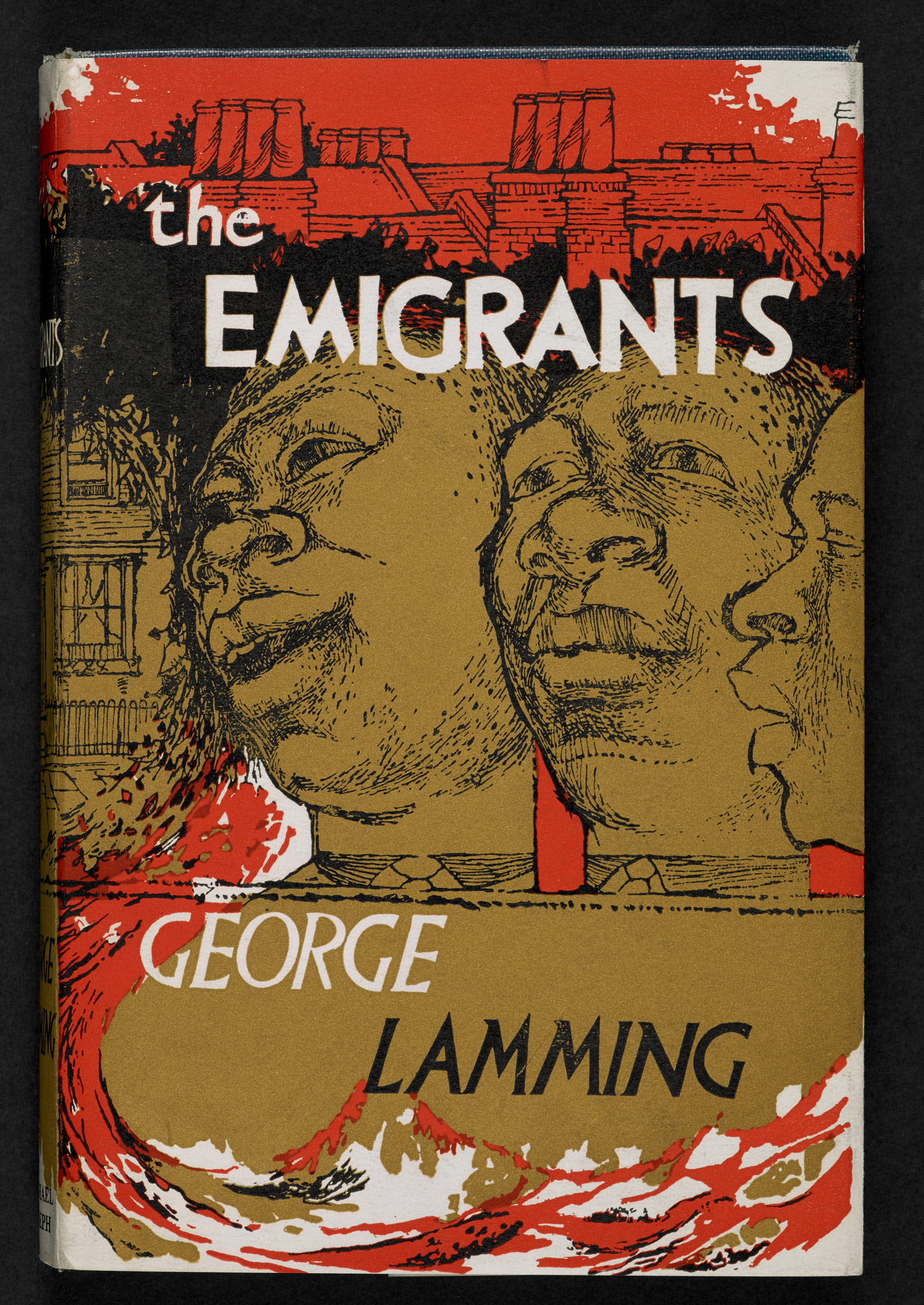 Dust jacket designed by Denis Williams for The Emigrants by George Lamming. Line drawing featuring a street scene, waves and the faces of three Black men.