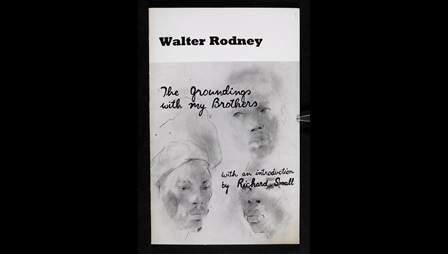Front cover by Errol Lloyd, depicting the faces of three Black men, for Walter Rodney's book 'The Groundings with my Brothers'