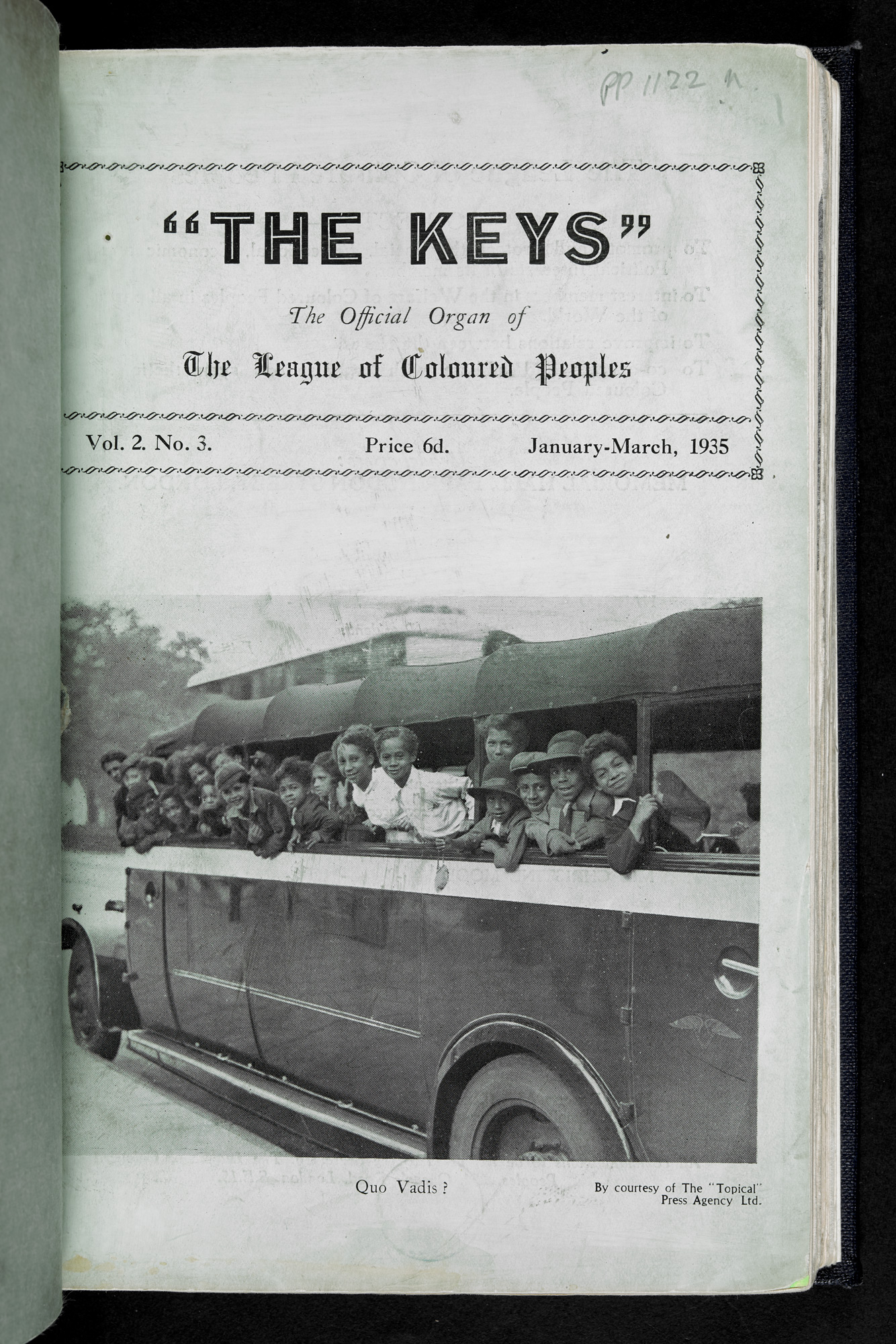 The Keys front cover, showing Topical Press Agency photograph of group of school children on a bus