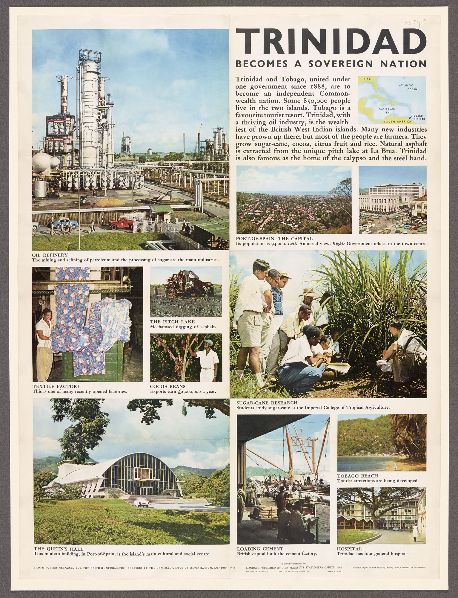Independence poster for Trinidad, containing text and colour photographs of locations and industries