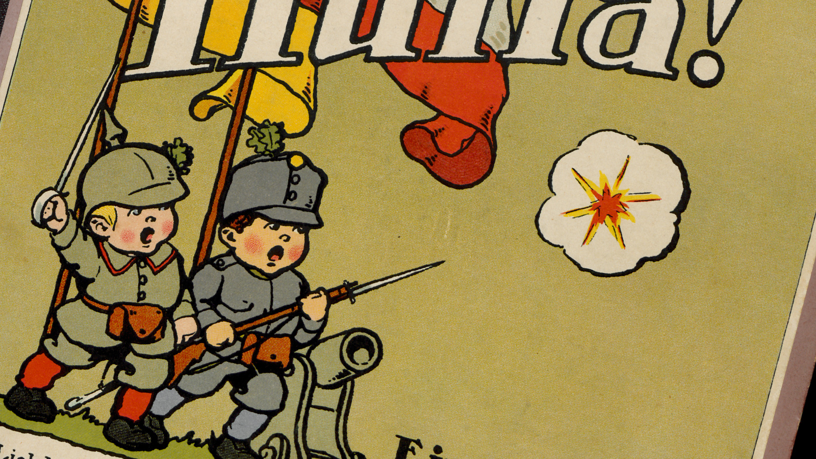 Banner for Children's article. A cropped image of a children's book cover. On a light green background, two cartoonised children are pictured holding rifles and flags.