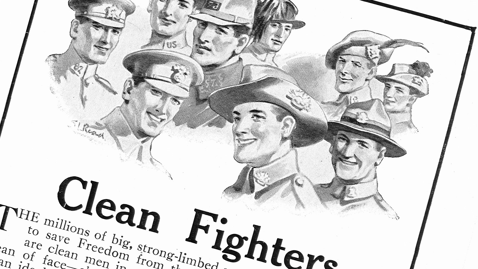 A banner created from an advert published in a Australian journal. A series of illustrated headshots sit above the headline of 'clean fighters'.