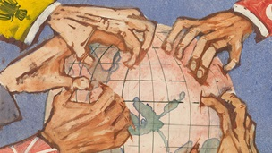 Banner for debate on the origins of the first world war article. Image is a painting of 5 hands grappling at a globe. Each sleeve has a flag ident on it.