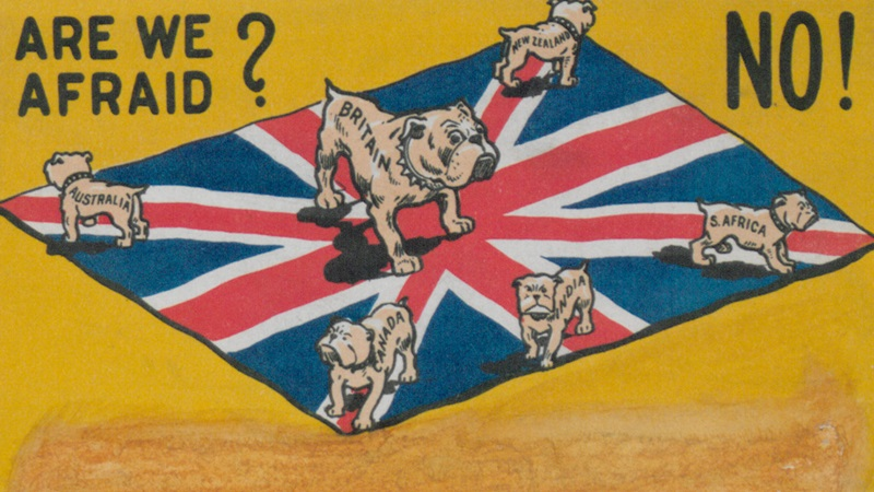 Cartoon showing Union Jack flag protected by 6 bulldogs representing the British empire.