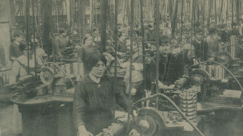 Photograph of women working in a factory