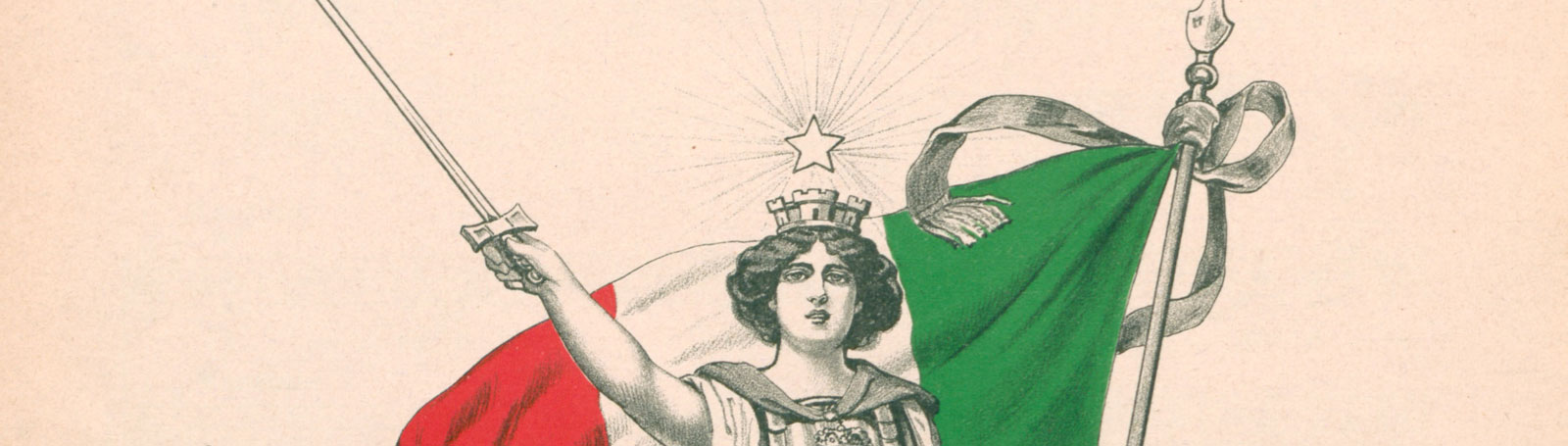 Italy personified as a woman standing tall and holding out a sword. Behind her stands the Italian flag in full colour of red, white and green.