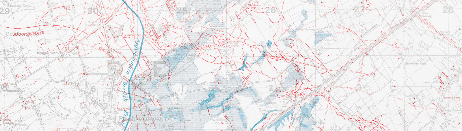 Logistics maps for the Western Front showing trenches, roads, water sources