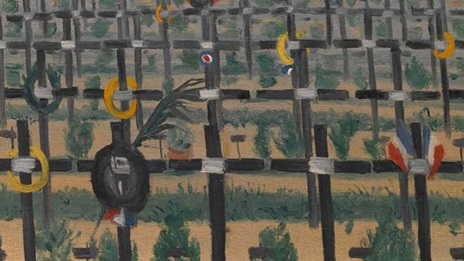 Artwork of war graves or cemetery