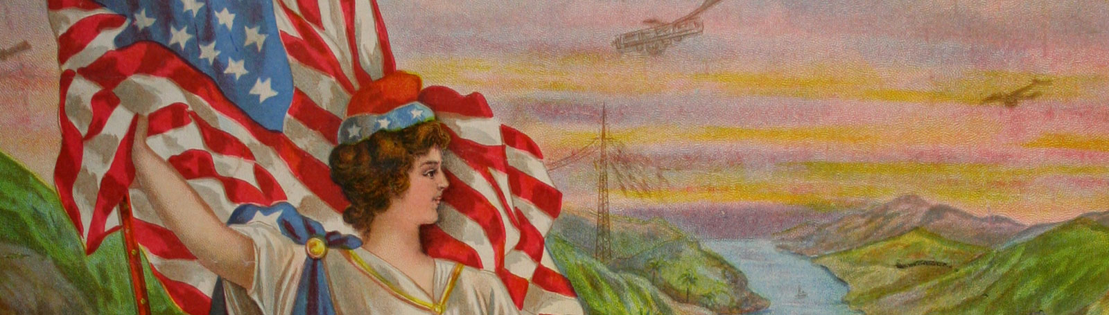 Lady liberty flying the American flag whilst overlooking idyllic landscape with hints of industrialisation: electricity pylons and airplanes