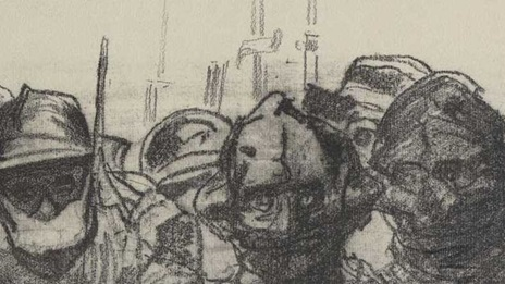 Illustration showing figures wearing gas masks