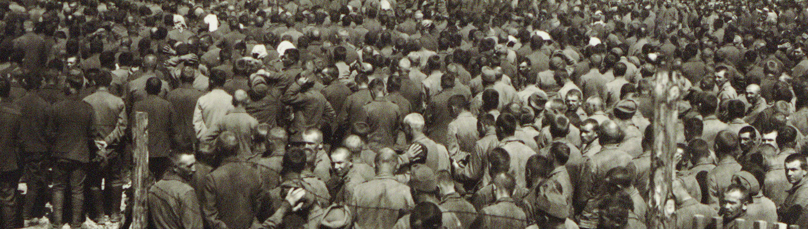 Photograph of crowd of Prisoners of War. Most have shaved heads.