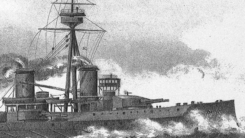 Illustration of battle ship at sea