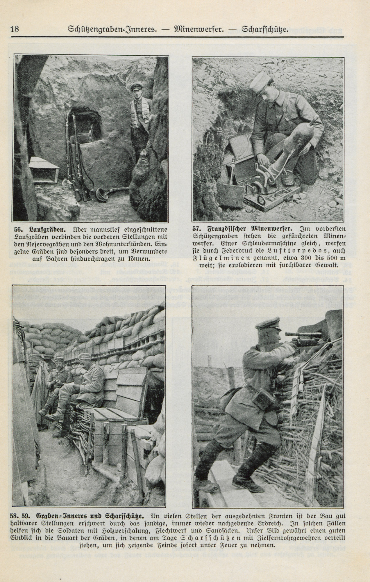 German photographs from a booklet of '100 typical pictures and explanatory drawings from the wartime life'. The images, aimed at schoolchildren and teachers, present an idealised view of the Front. 1916.
