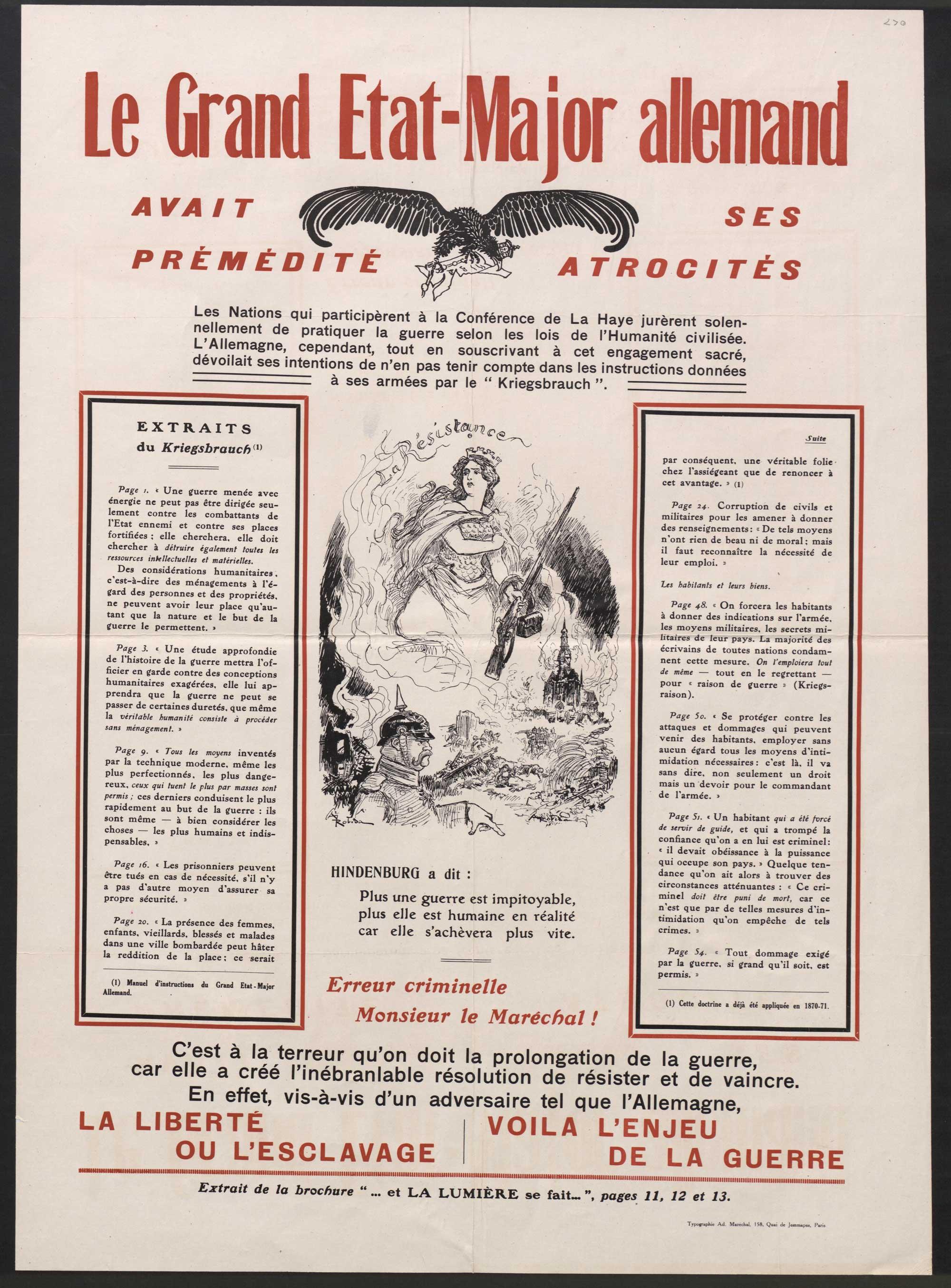 N. 270. Le Grand Etat-Major allemande avait prémédité ses atrocités