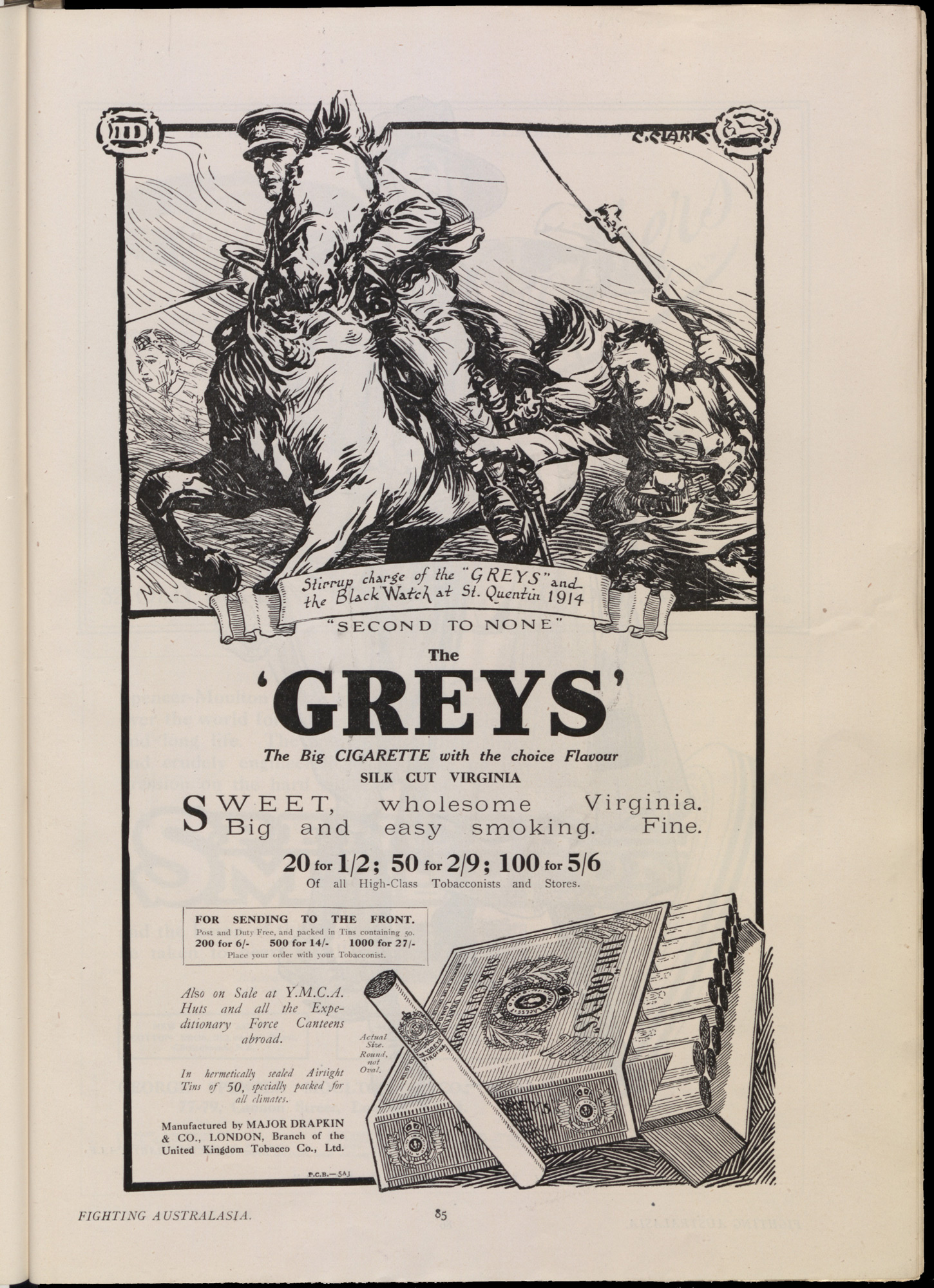 Advert for Greys Cigarettes