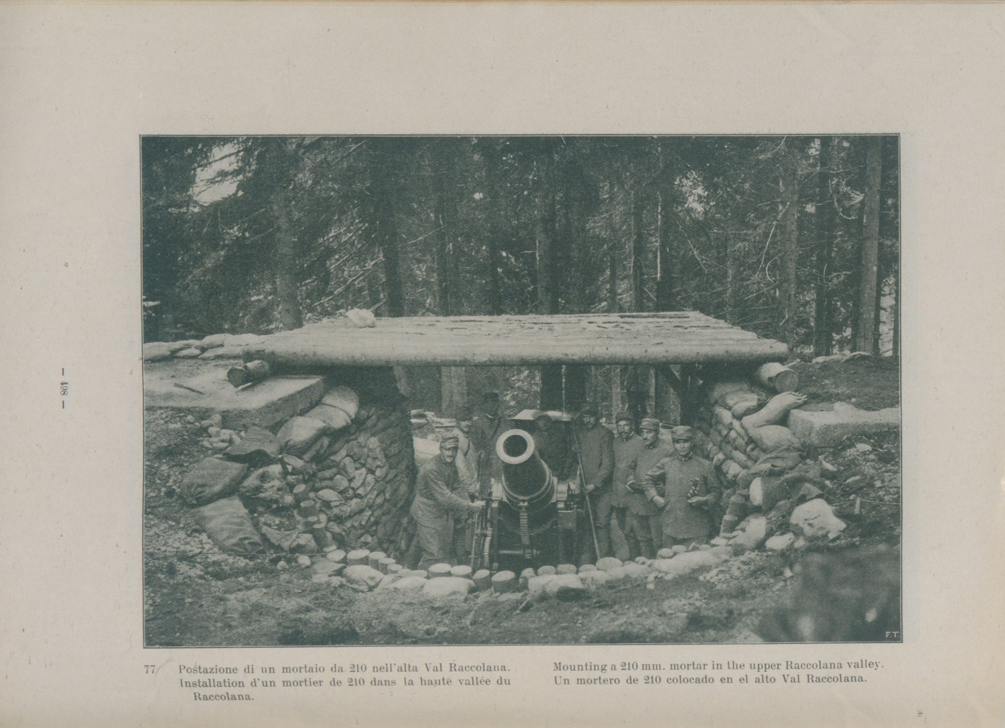 A 210mm Italian mortar mounted in the upper Raccalona Valley.