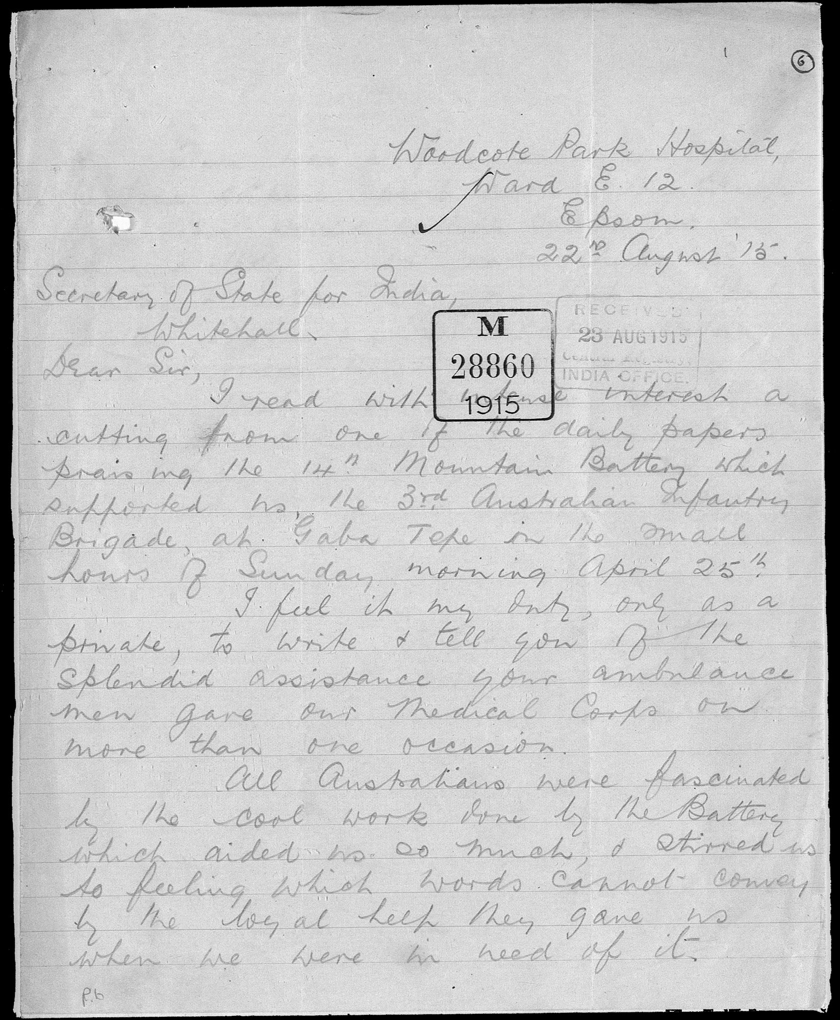 Appreciation of assistance rendered to Australian Medical Corps by Indian ambulance men in Gallipoli