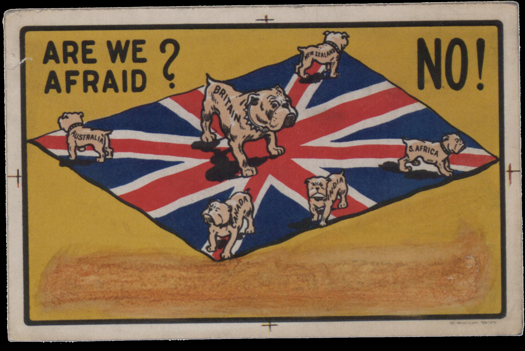 This postcard uses the Union Flag and the icon of the Bulldog to show Britain, Australia, Canada, India, New Zealand and South Africa standing united against a common threat, 1915.