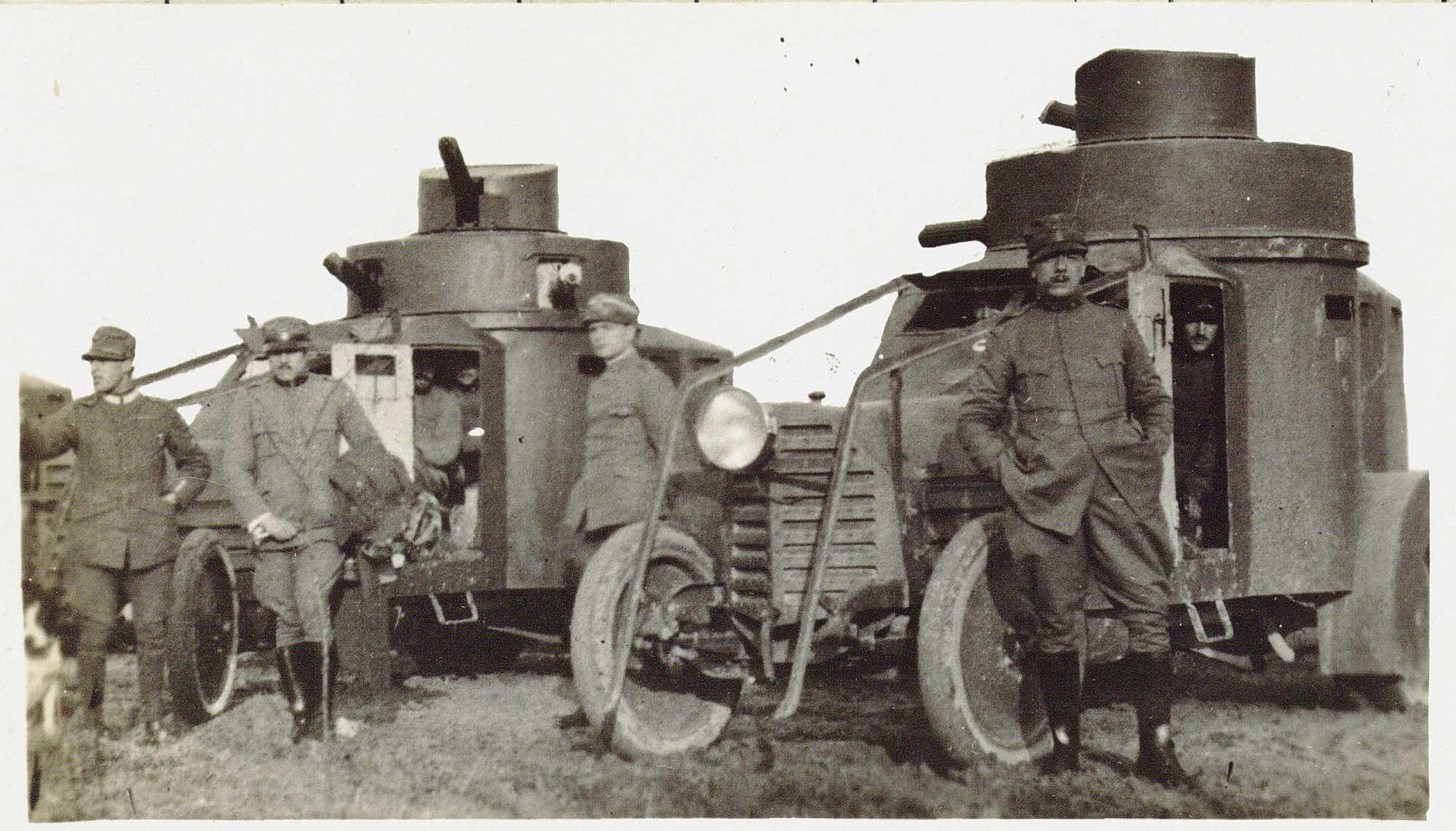 Armoured motor vehicles in Gorizia, 1916.
