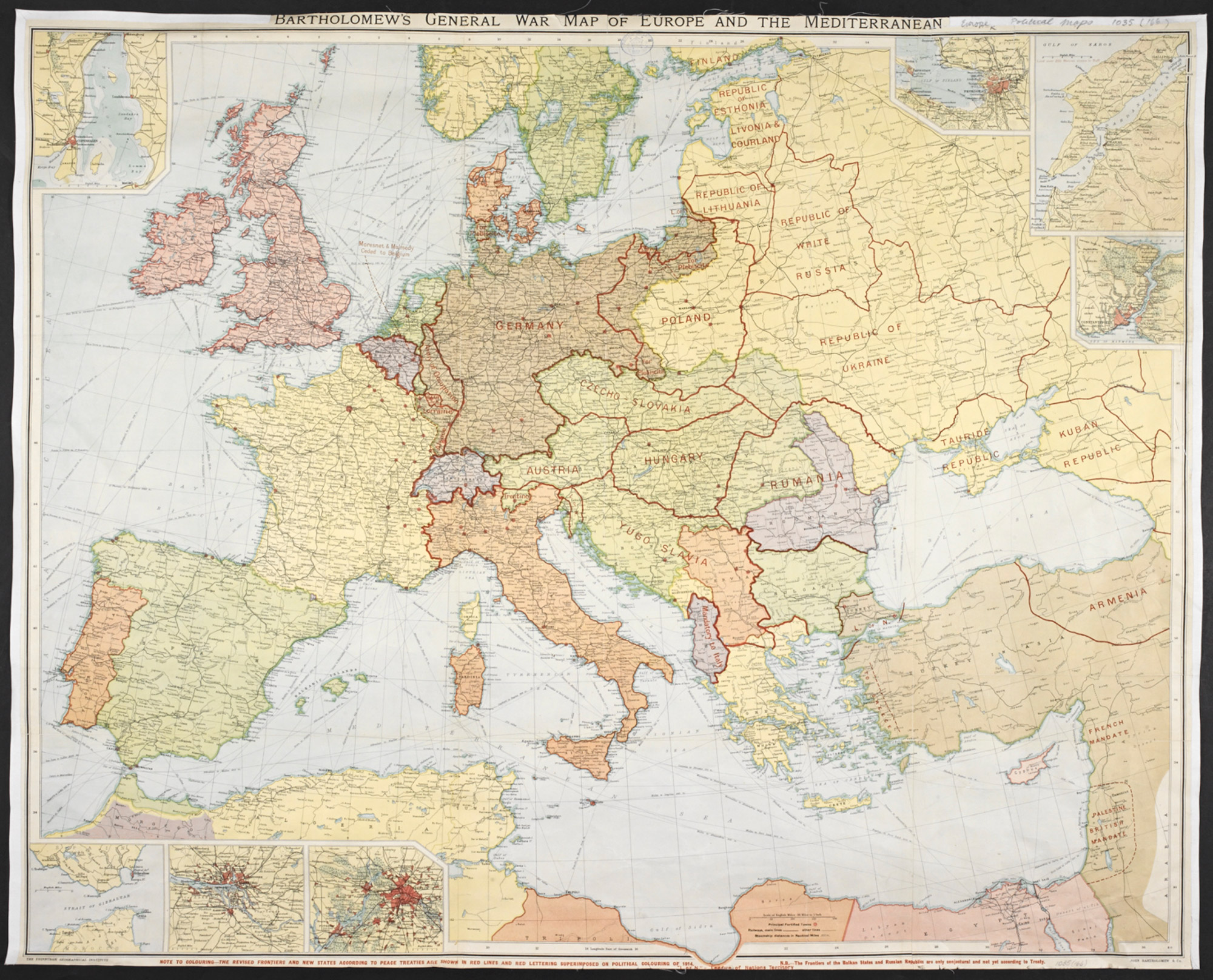 Mediterranean Political Map.Bartholomew S General War Map Of Europe And The Mediterranean