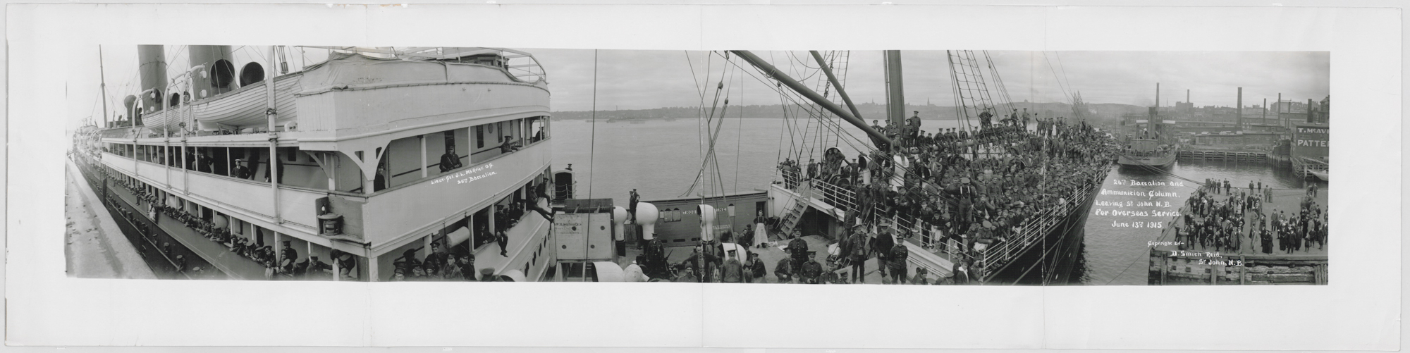 Photograph, June 1915, showing men from the 26th Battalion and Ammunition Column leaving for overseas service.