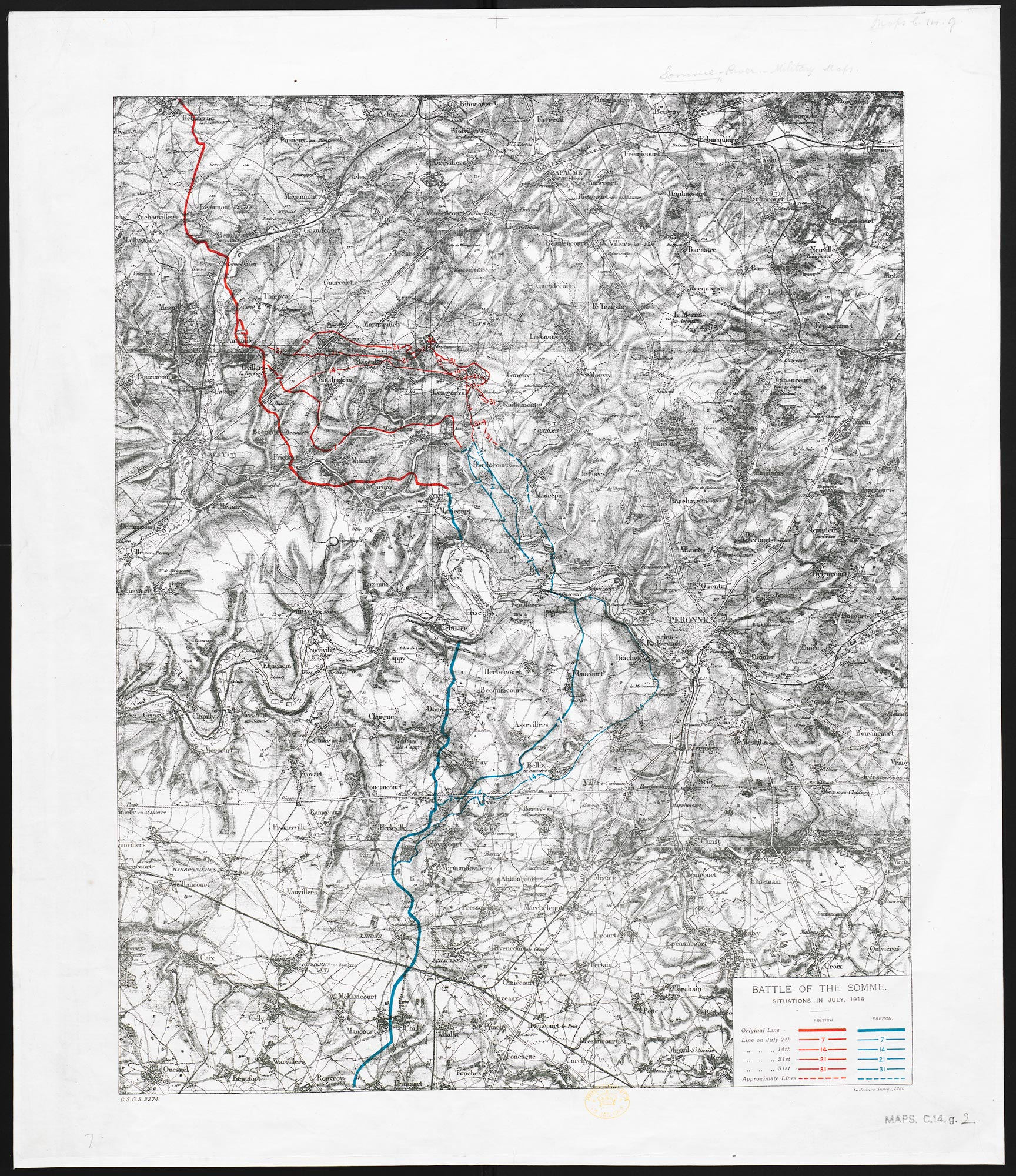 Battle of the Somme. Situation in July 1916. 1:80,000.