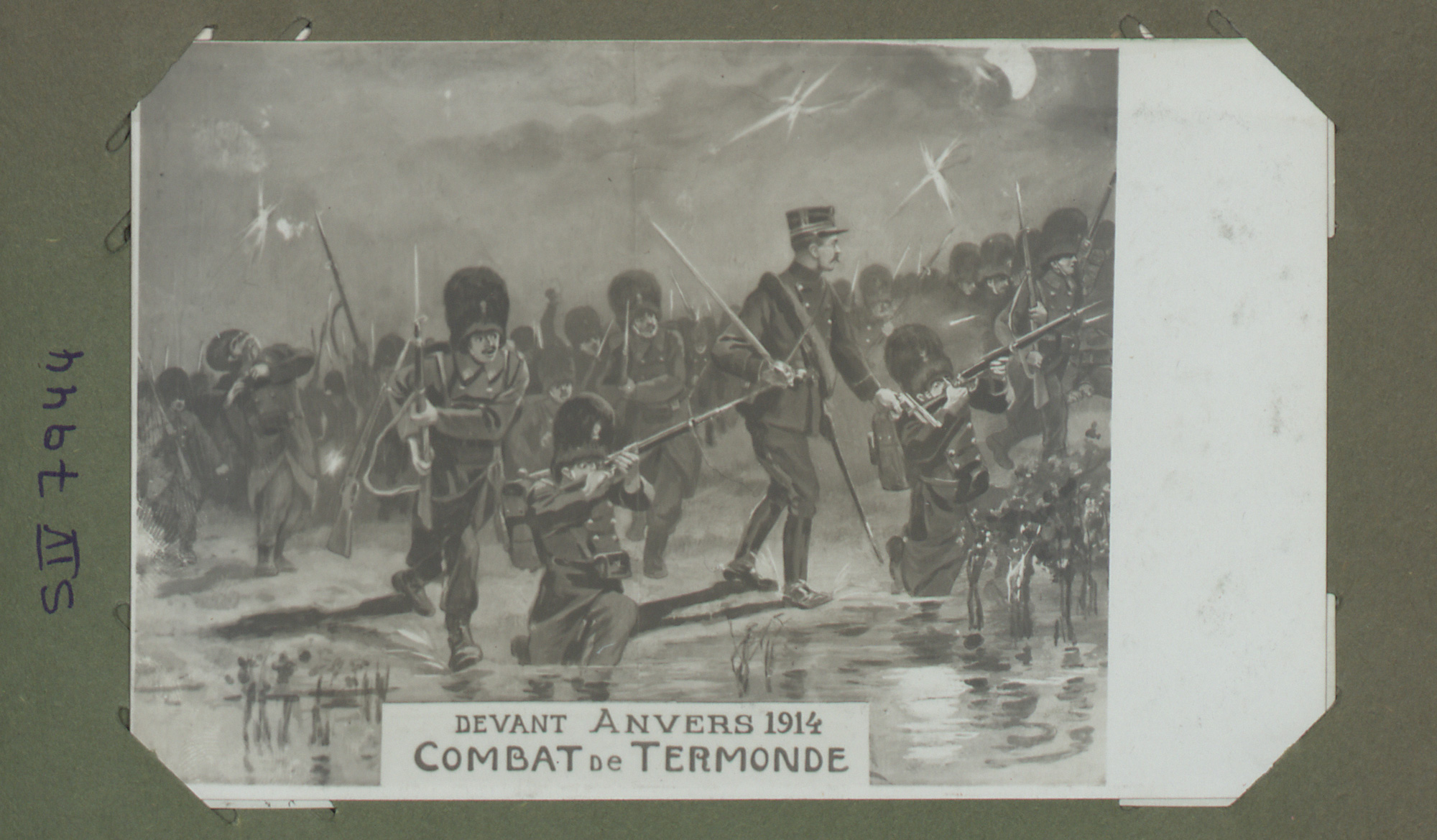 Postcard showing soldiers fighting in the Belgian city of Dendermonde. When the German army invaded Dendermonde in 1914, about 50% of homes were destroyed.