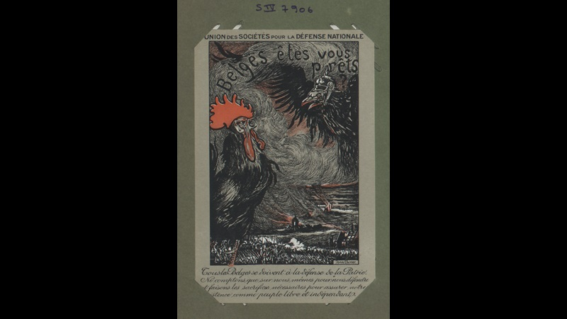 'Belgians are you ready?': a Belgian postcard showing a confrontation between a rooster (symbol of Wallonia, the southern region of Belgium) and an eagle (symbol of Germany).