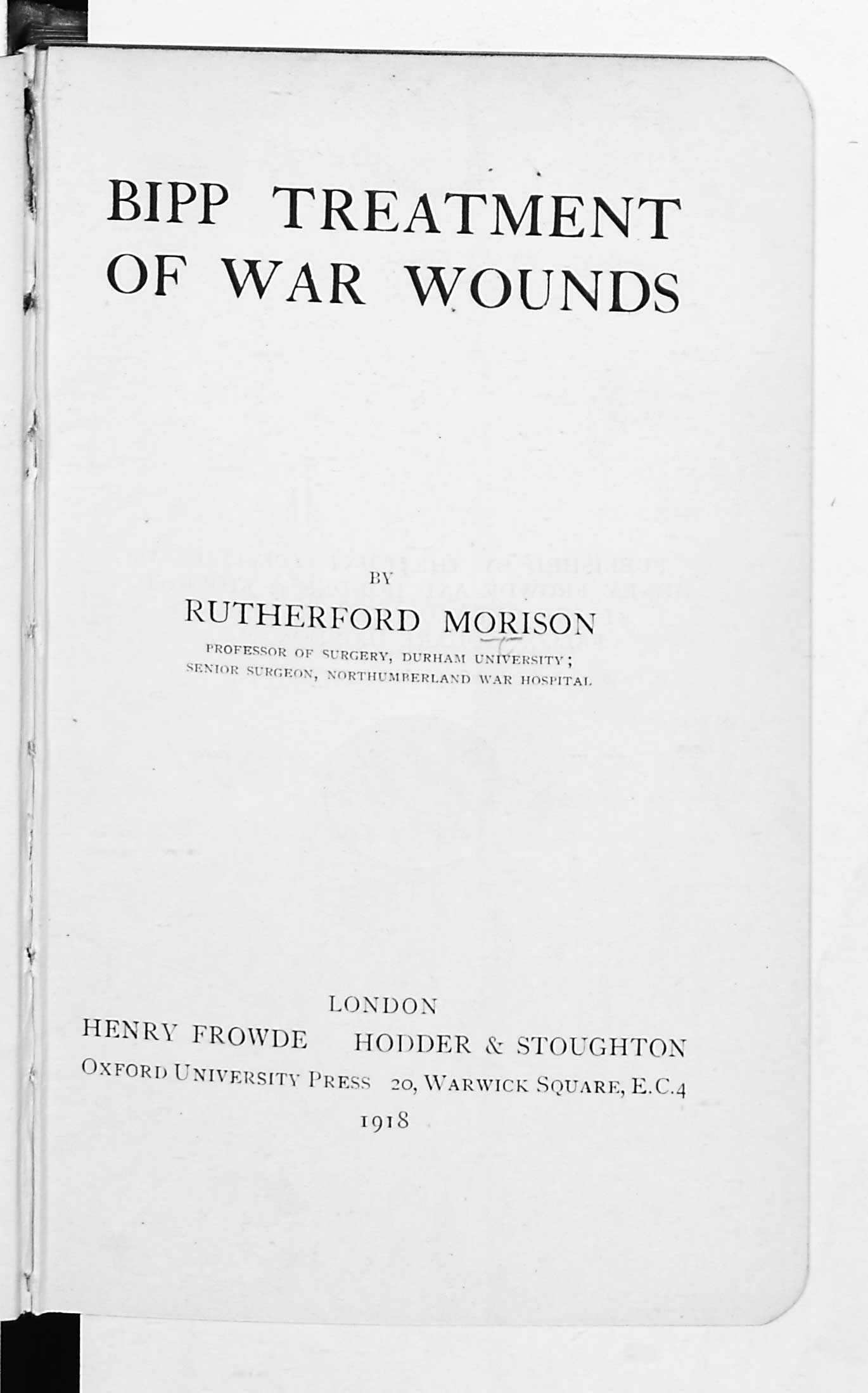 Bipp Treatment of War Wounds