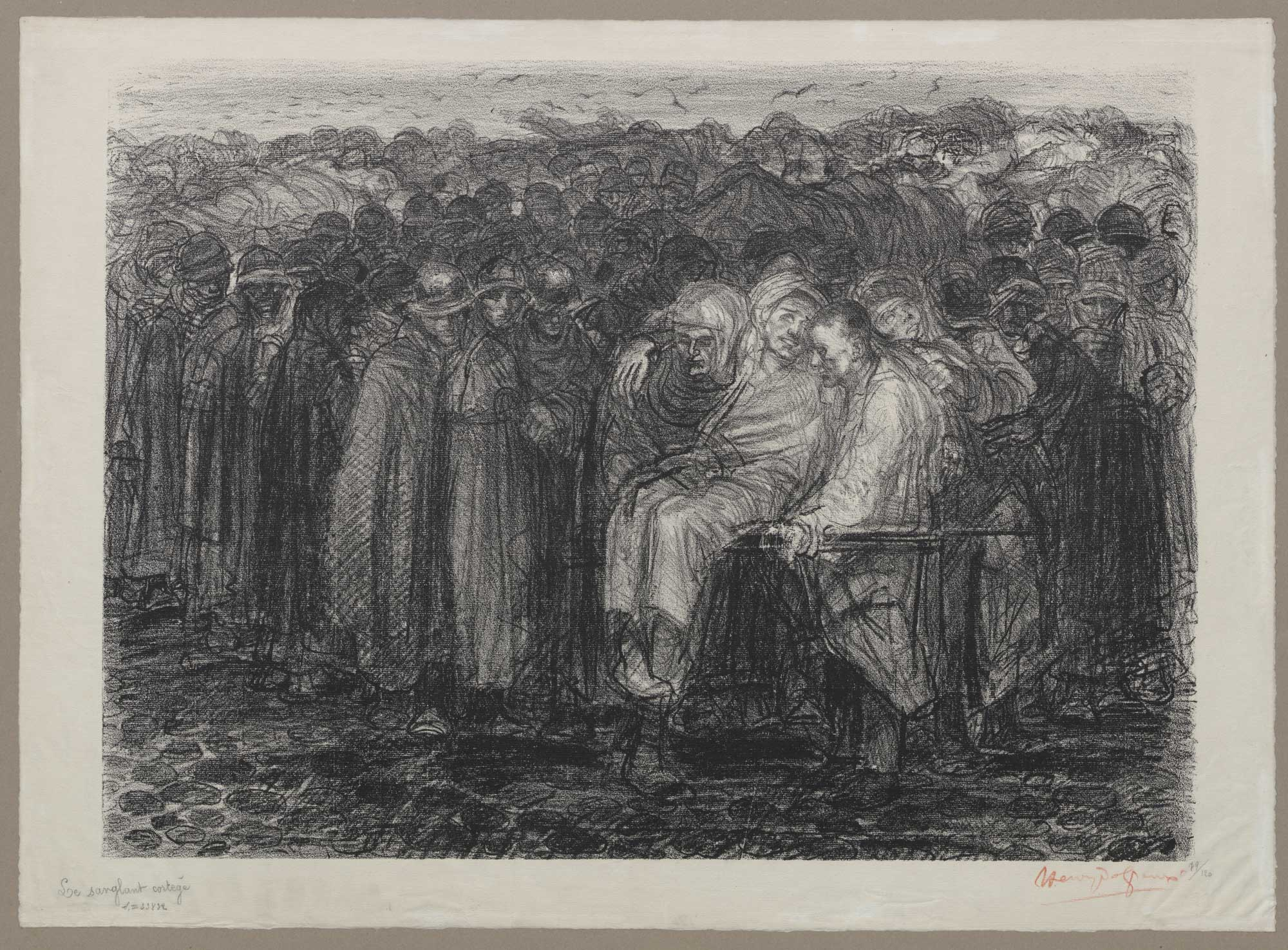 Lithograph depicting a group of soldiers and a wounded man being carried on a stretcher, by Belgian symbolist painter and sculptor Henry de Groux (1886-1930).