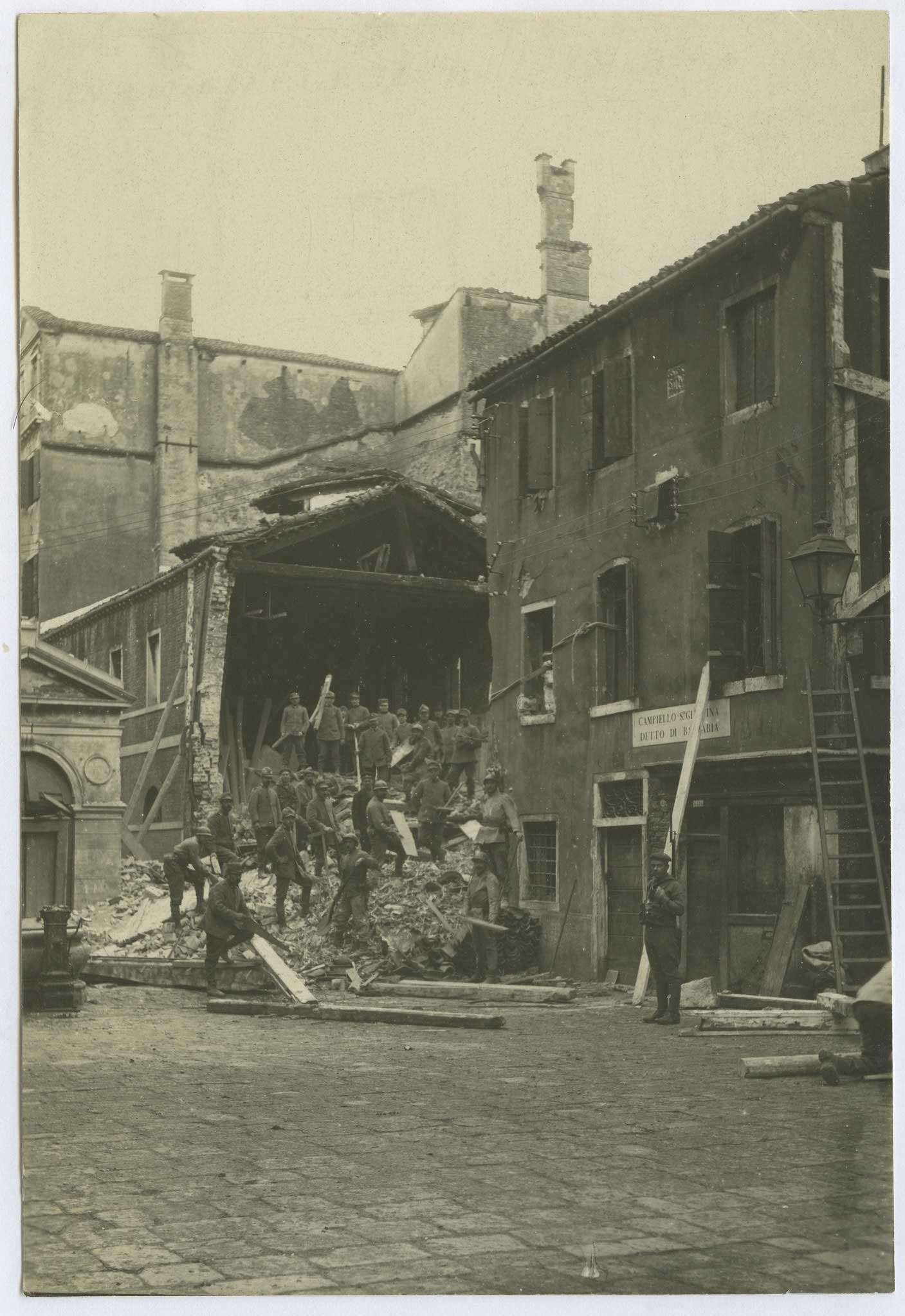 Edifices destroyed by bombardment in Venice