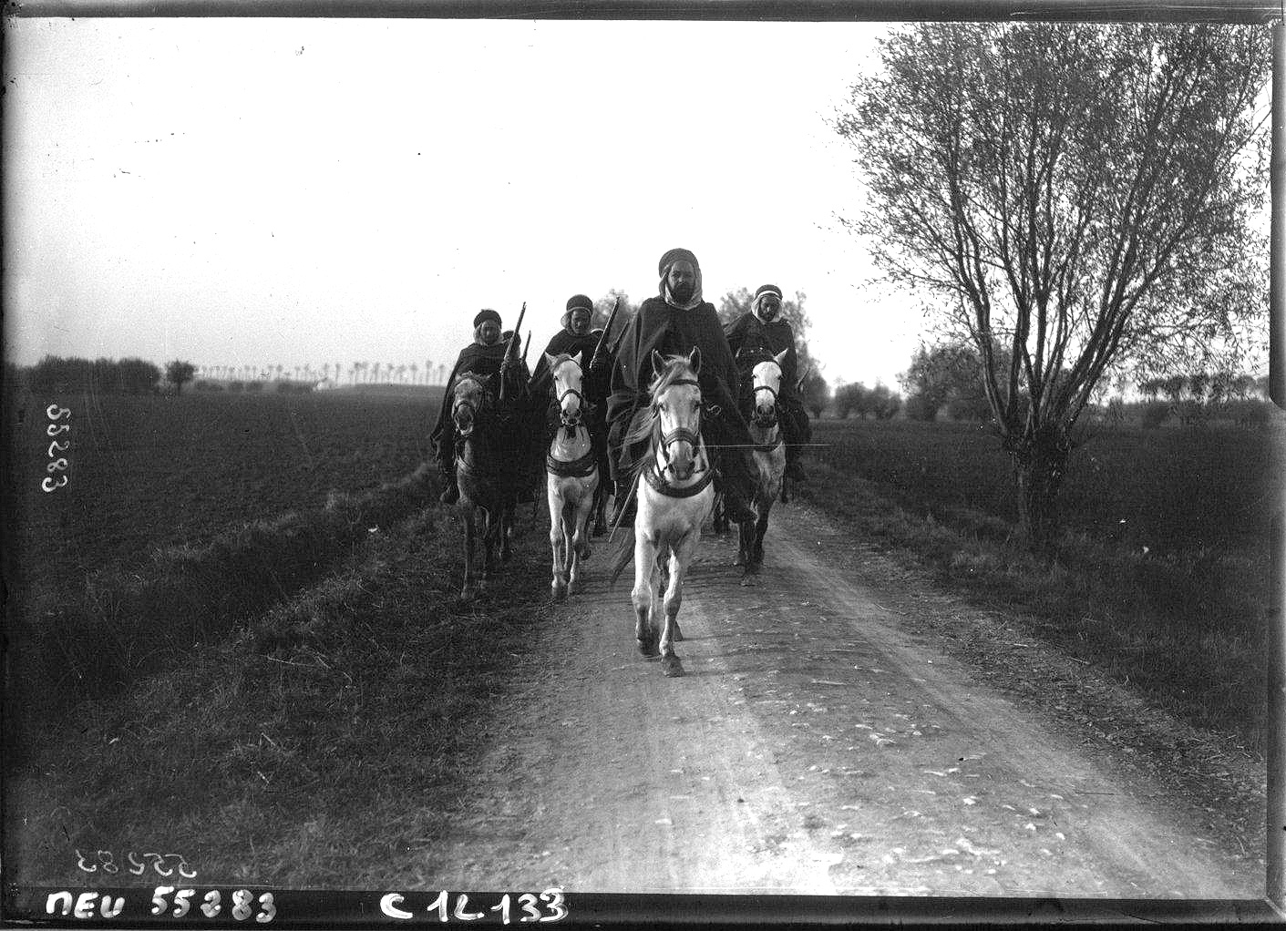 Cavalry patrol of Moroccan Spahis fighting for the French army near Furnes, Belgium, 1914.