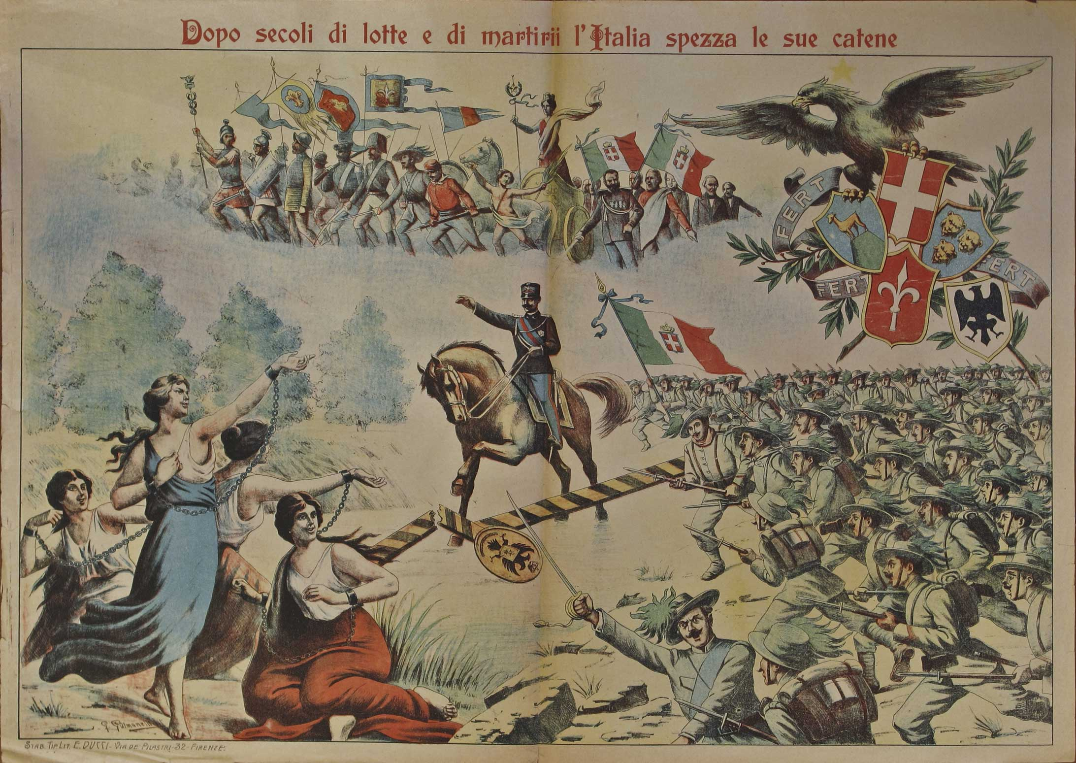Print showing Vittorio Emanuele III on a horse encouraging his marksmen to assault and cross the Austrian border to free women in chains: an allegory of the unredeemed territories.