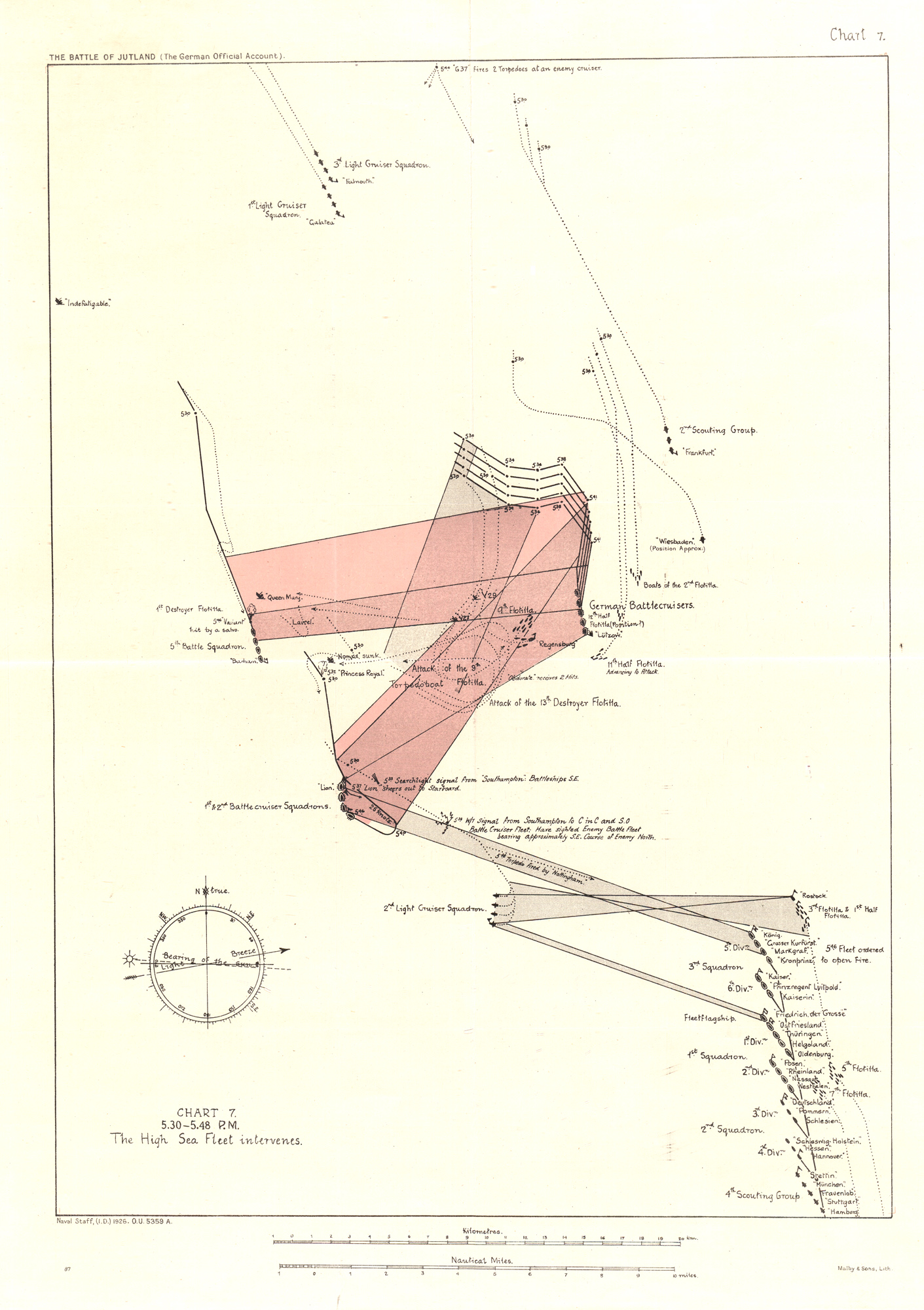 Chart plotting the locations and movements of the Allied and German ships between 5.30pm and 5.48pm during the Battle of Jutland on 31 May 1916.