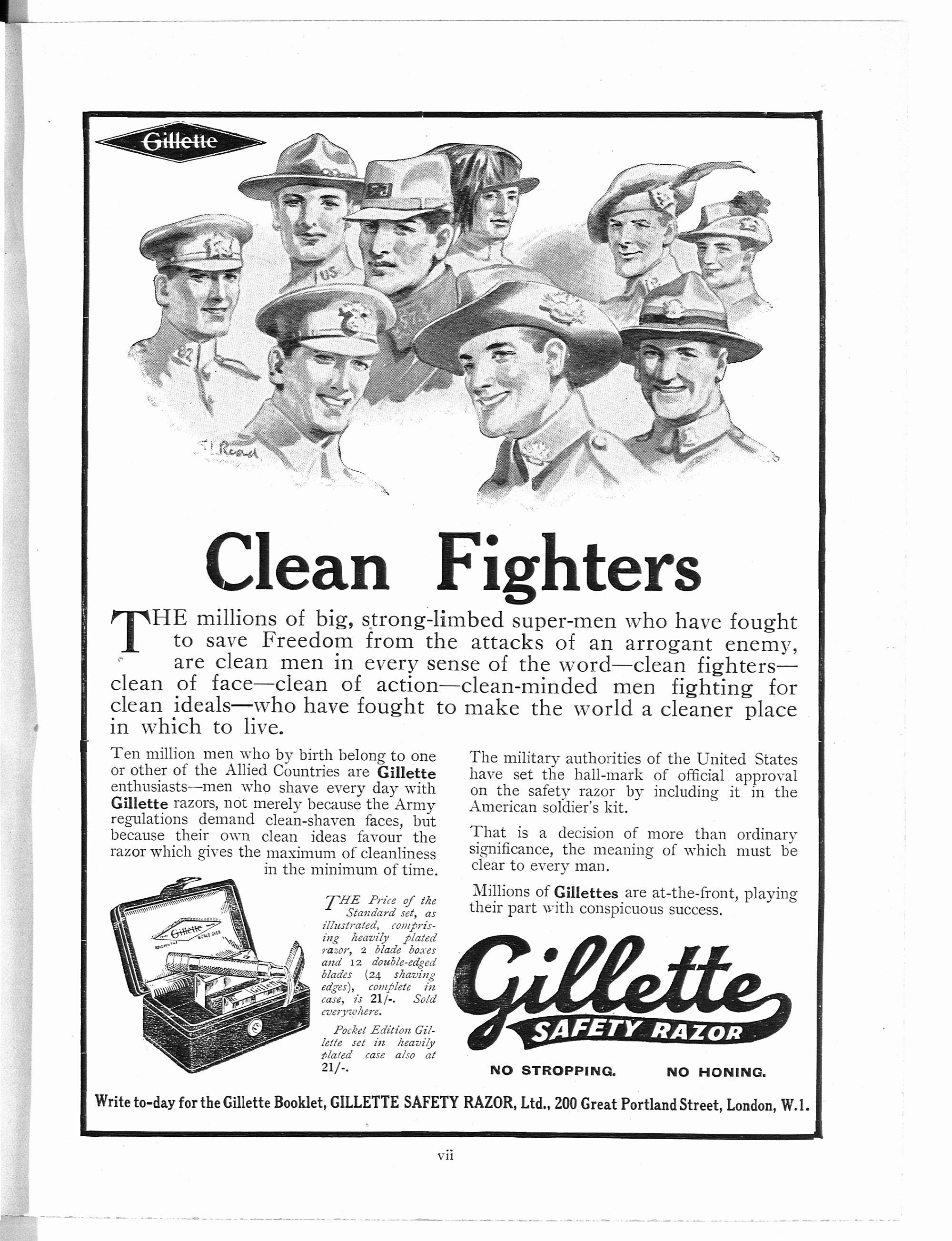 Clean fighters - advert for Gillette safety razors