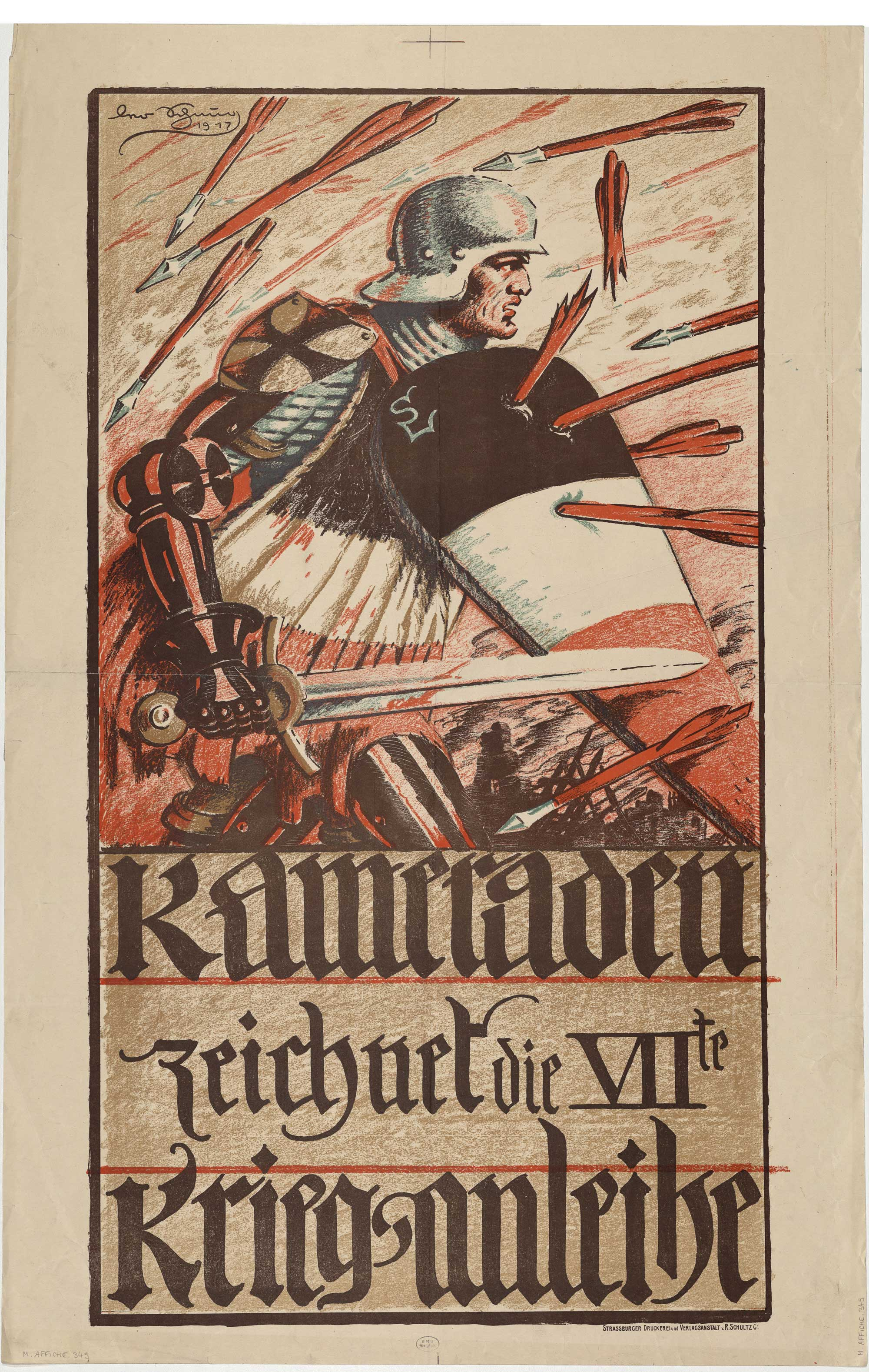 'Comrades, sign up for the 7th war bond'. Poster produced in Alsace, 1917.