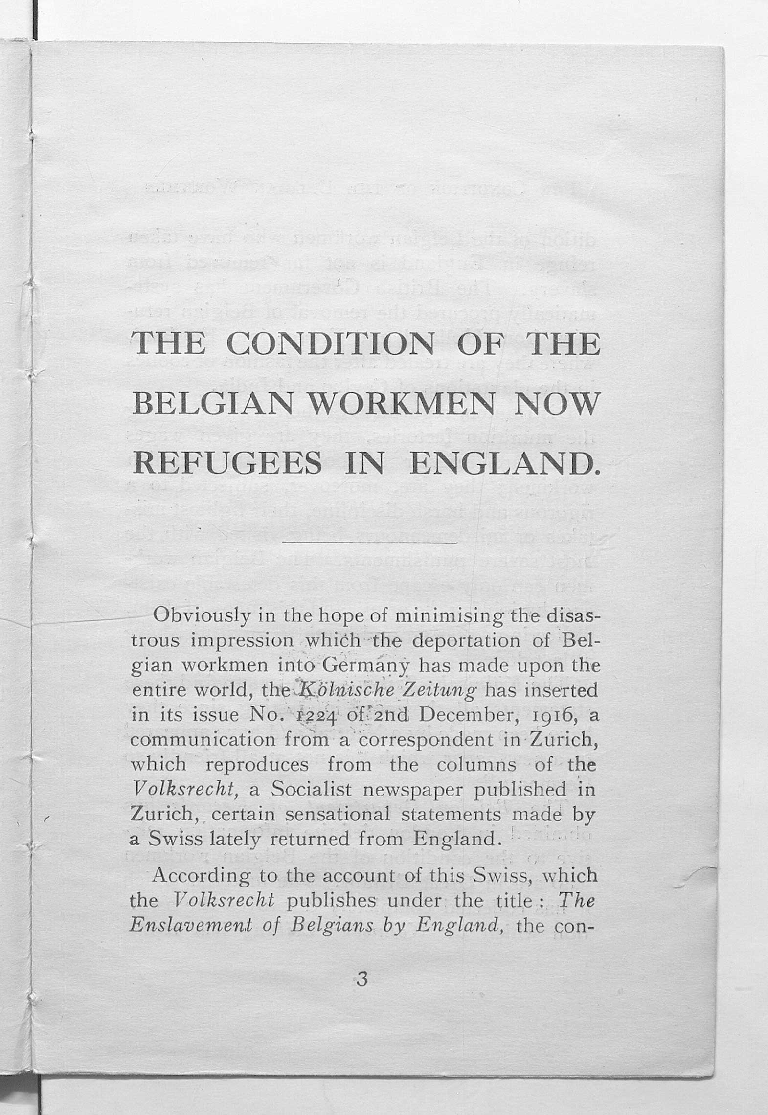 Booklet from 1917 which wanted to dispel claims that Belgian refugee workmen were being exploited in England.