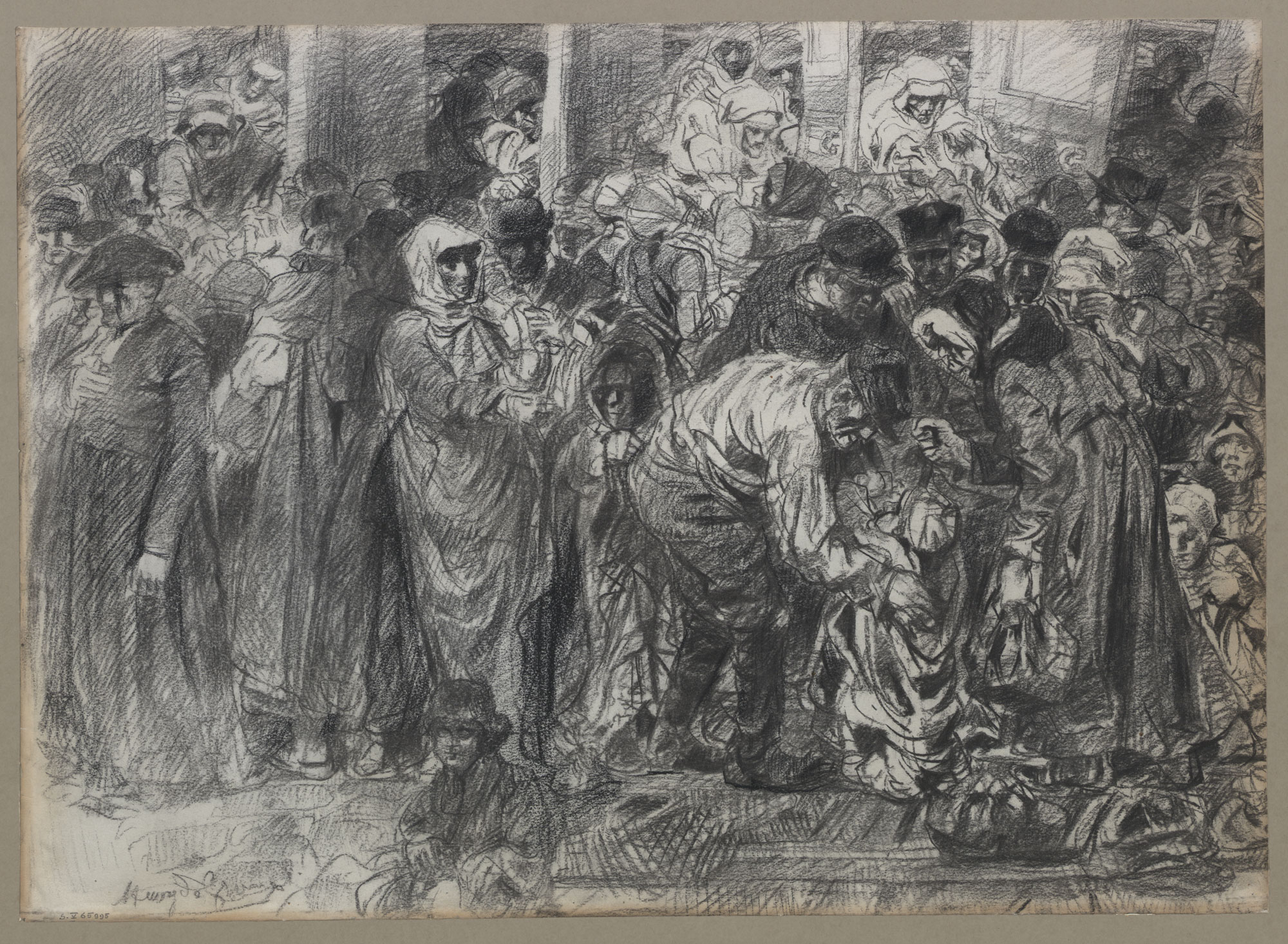 Drawing, by Belgian symbolist painter and sculptor Henry de Groux (1886-1930), shows crowds gathered around a train as it departs to take soldiers to war.
