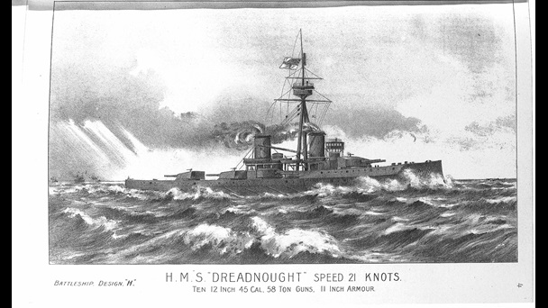 Illustration of an original design for battleship HMS Dreadnought, showing the ship sailing on a choppy sea