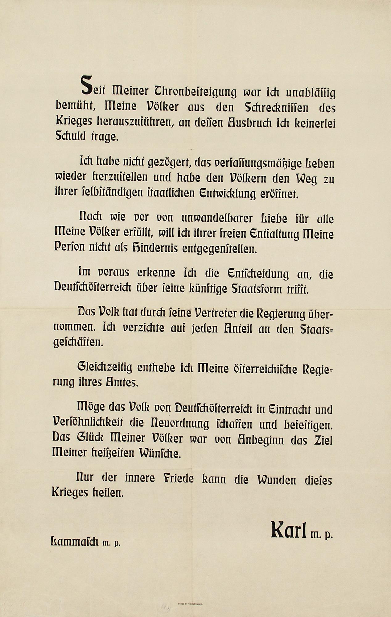 Emperor Karl's abdication - proclamation