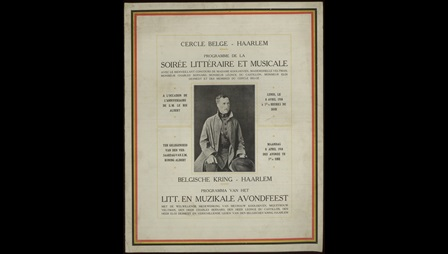 Cover from a programme for a literary and musical evening, with text in French and Dutch and a photograph of a man