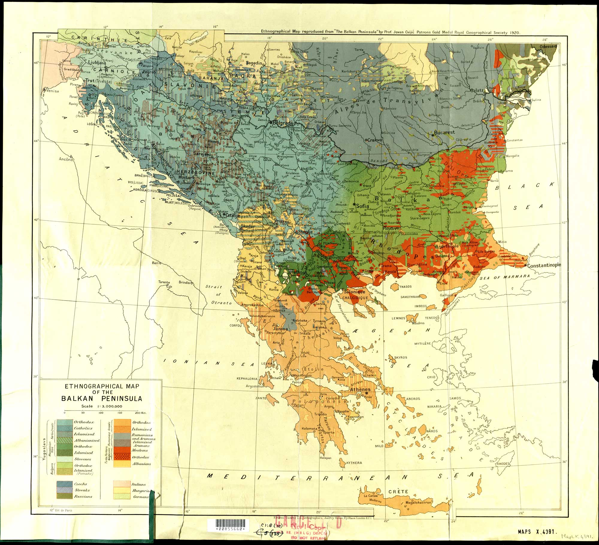 Ethnographical map reproduced from The Balkan Peninsula by Jovan Cvijić