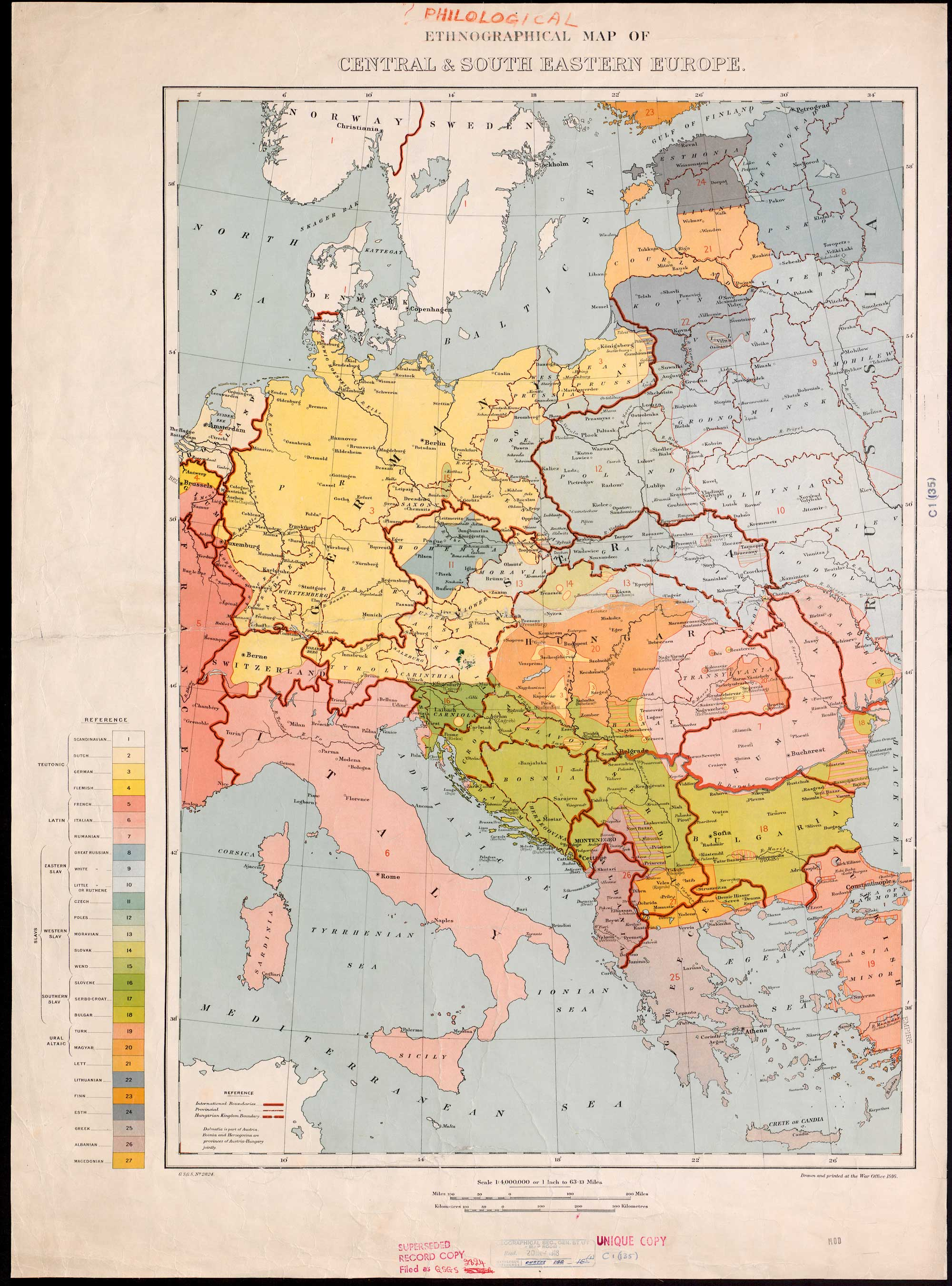 Ethnographical map from 1916 showing spoken native languages in central and south eastern Europe.