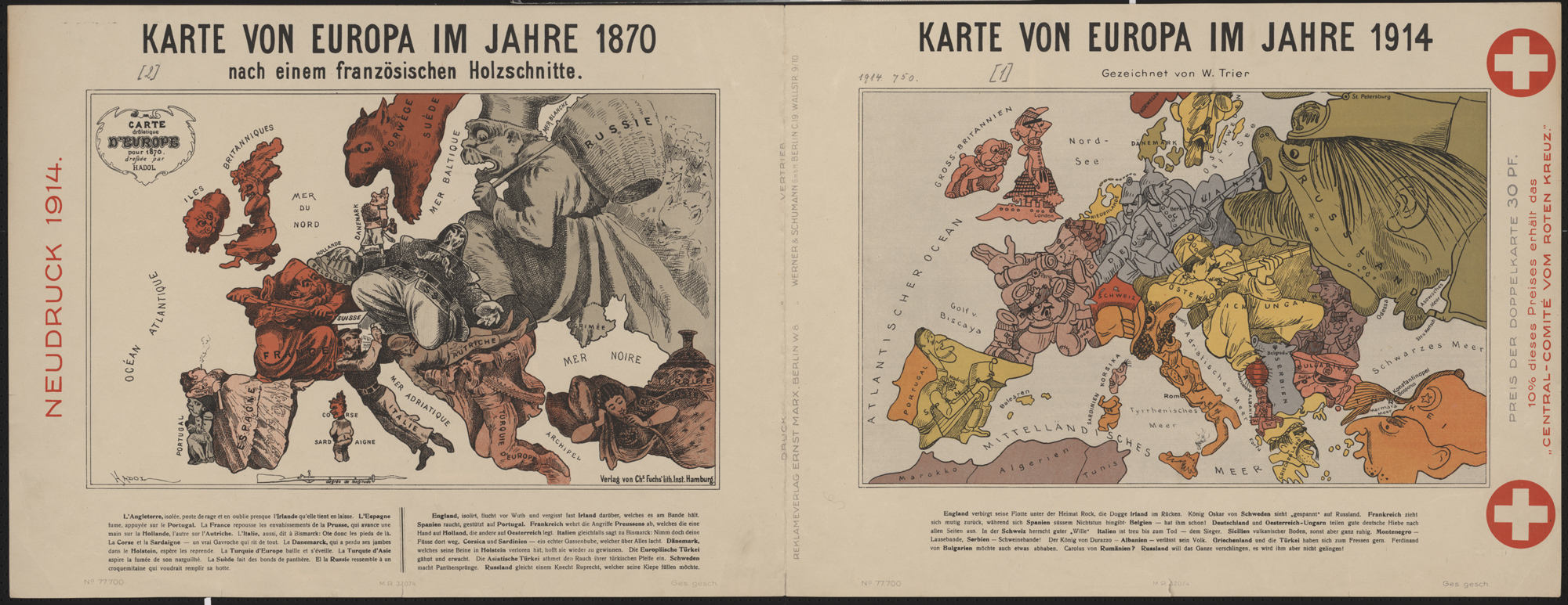 German satirical map of Europe in 1914 - The British Library