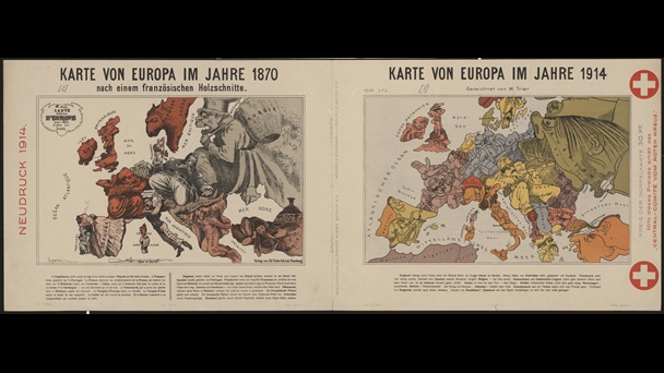 Drawn by German graphic artist Walter Trier, this map from 1914 uses caricatures to depict the personalities of different European countries.