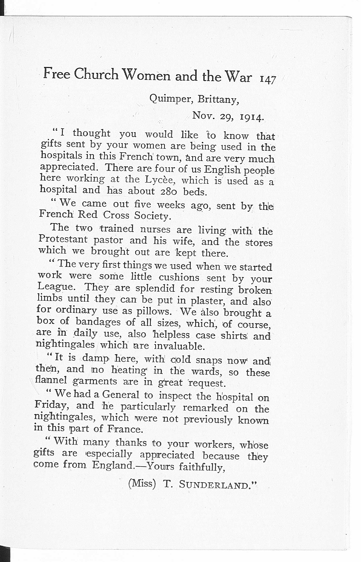 Letter from a nurse working in Brittany in 1914. The letter was reprinted in 'Some Chaplains in Khaki', a book by Reverend Frederic Chambers Spurr.