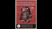 Front cover from Fighting Australasia, a souvenir record about the contribution of the Australia and New Zealand Army Corps, with an illustration of an smiling soldier
